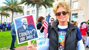 Cathy Stoll from Carlsbad said she wanted to reinforce her believes about the president.