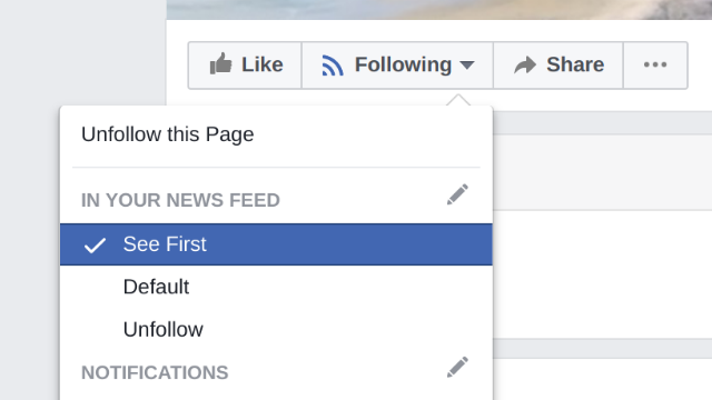 Facebook news feed menu