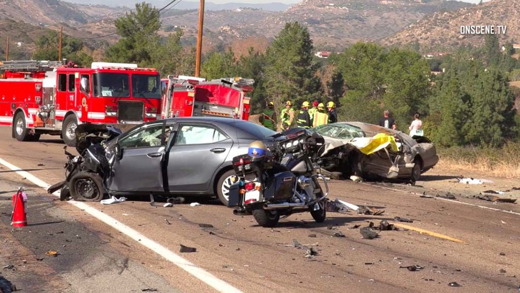 Fatal crash scene near Lawrence Welk Resort Village.