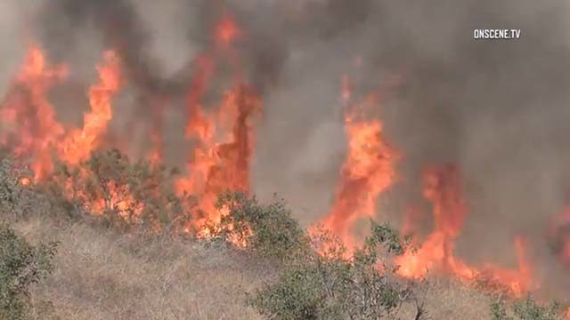 Brush fire in south La Mesa near state Routes 125 and 94.