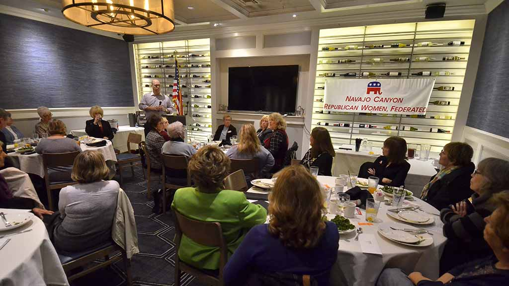 Wine racks served as backdrop to monthly meeting of the Navajo Canyon Republican Women Federated at Brigantine in La Mesa.