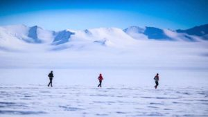 Vivian Lee (center) faced strong headwinds 600 miles from the South Pole.