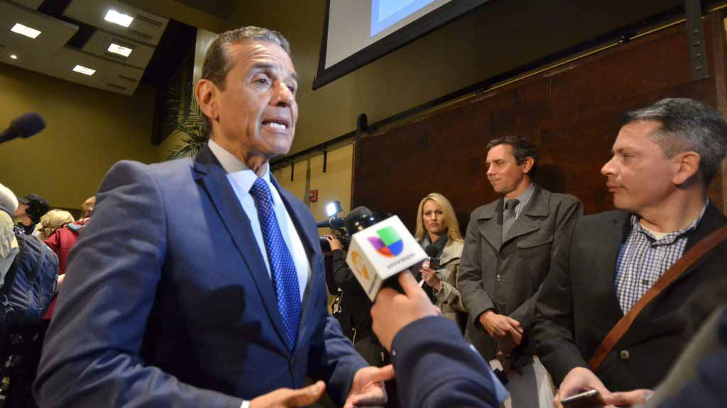 Democratic gubernatorial candidate Antonio Villaraigosa speaks with the media after the debate.