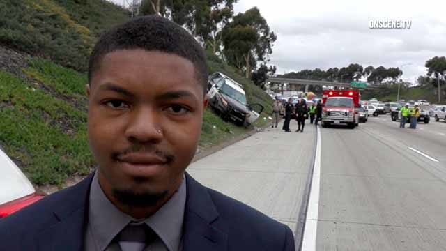 Dejon Thomas describes to a reporter how he pulled officer from crashed SUV.