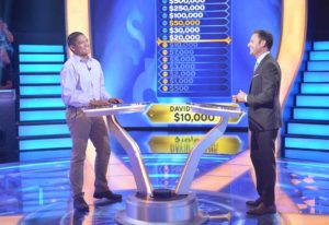 """Photo from 2017 taping shows David Tamayo having won $10,000 at a point in his """"Who Wants to Be a Millionaire"""" appearance."""