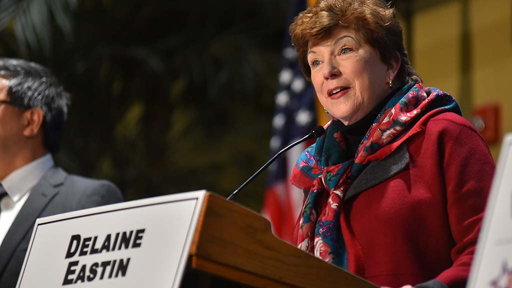 Democratic gubernatorial candidate Delaine Eastin gives her opening statement.