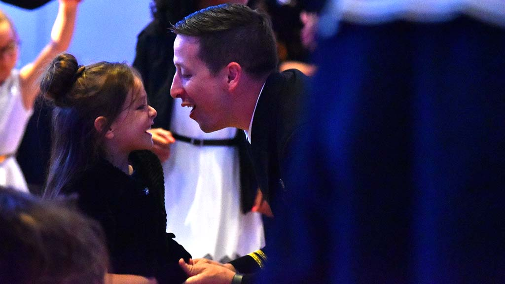 Capt. Nolan Ellis shares a special moment with his daughter, Avery, 4, at the Father & Daughter Dance.