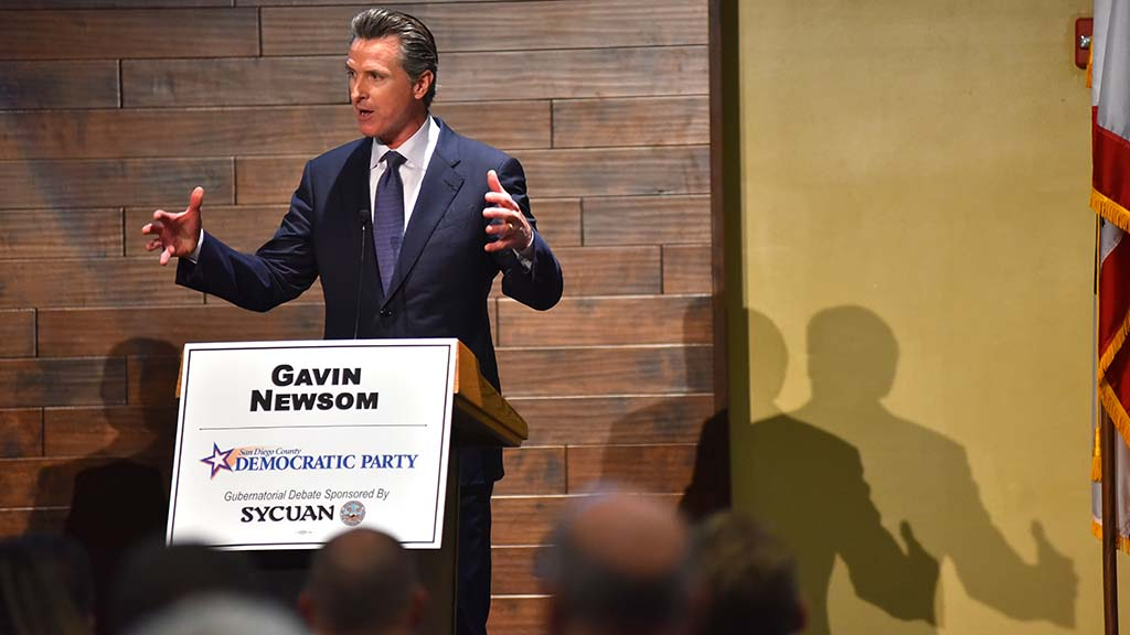 Democratic gubernatorial candidate Gavin Newsom presents his views during the debate.