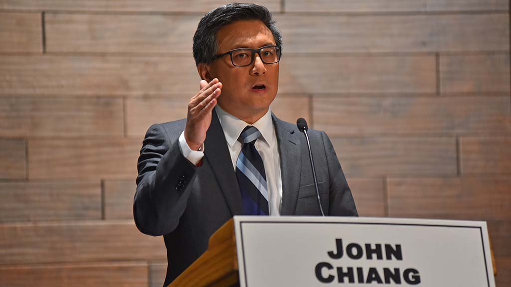 Democratic gubernatorial candidate John Chiang presents his views at the debate.