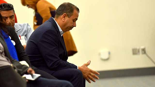 Former state Sen. Tony Mendoza reflects during 32nd Senate District Caucus at the California Democratic Party convention in San Diego.