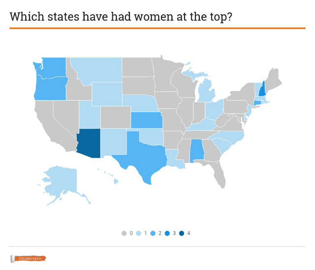 Map of states with no female governor
