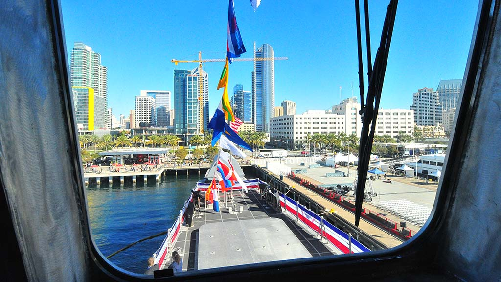 Downtown San Diego is seen from the bridge of the USS Omaha which was commissioned at the Broadway Pier.