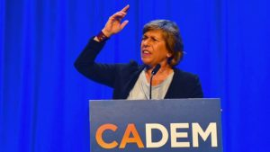 Randi Weingarten, president of the American Federation of Teacher, speaks at the California Democratic Convention against teachers carrying handguns.