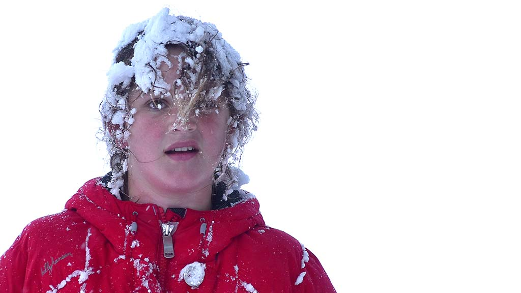 Boy with snow in hair