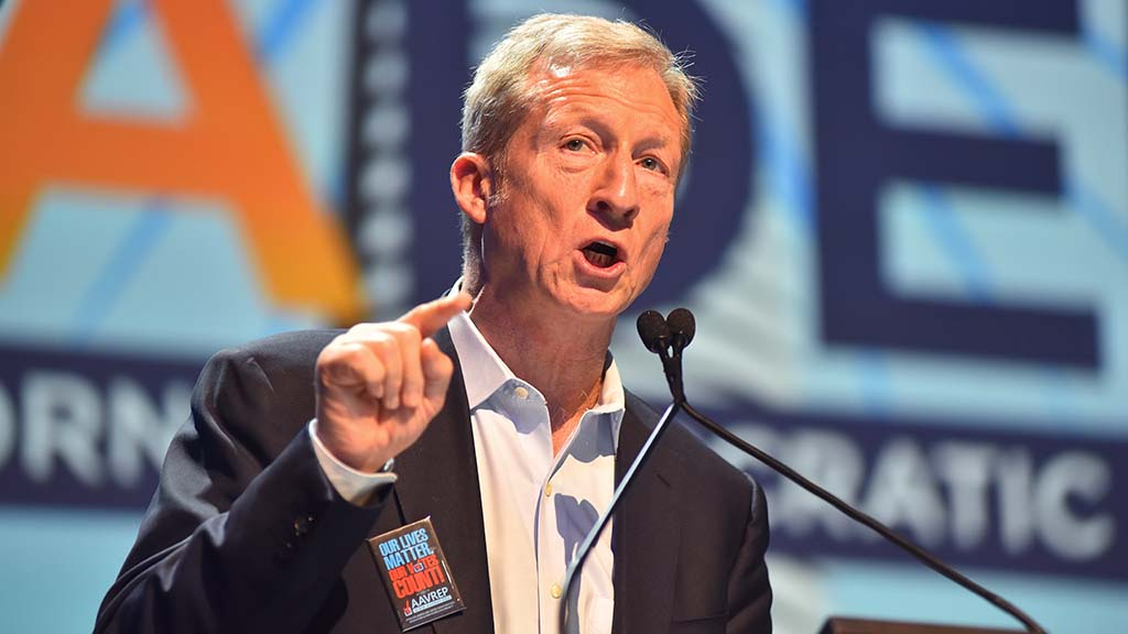 Billionaire Tom Steyer warned delegates about President Donald Trump and his policies.