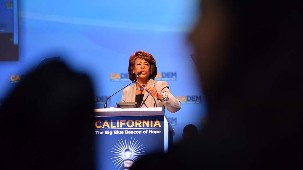 "At the end of her speech, Rep. Maxine Waters led the delegates in the cheer, ""Impeach 45."""