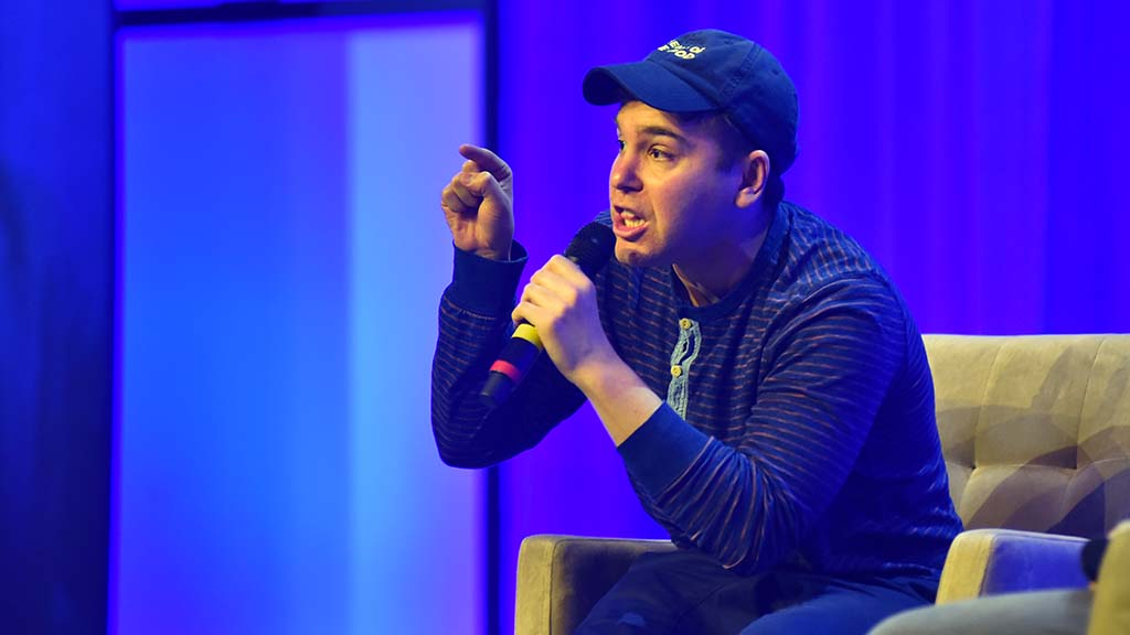 Jon Lovett, speechwriter an podcaster, addressed delegates during the Saturday luncheon.