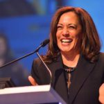 U.S. Sen. Kamala Harris enjoys the warm welcome at the state Democratic convention.