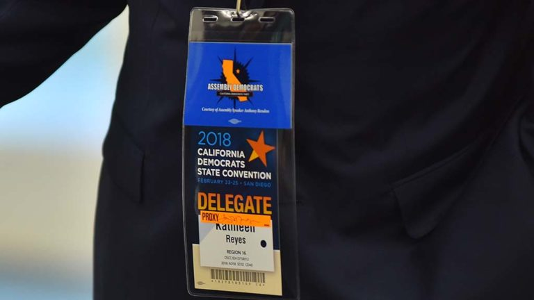 Tony Mendoza, unable to vote under his own name, was a proxy for Kathleen Reyes and wore her badge at the Democratic Party convention.