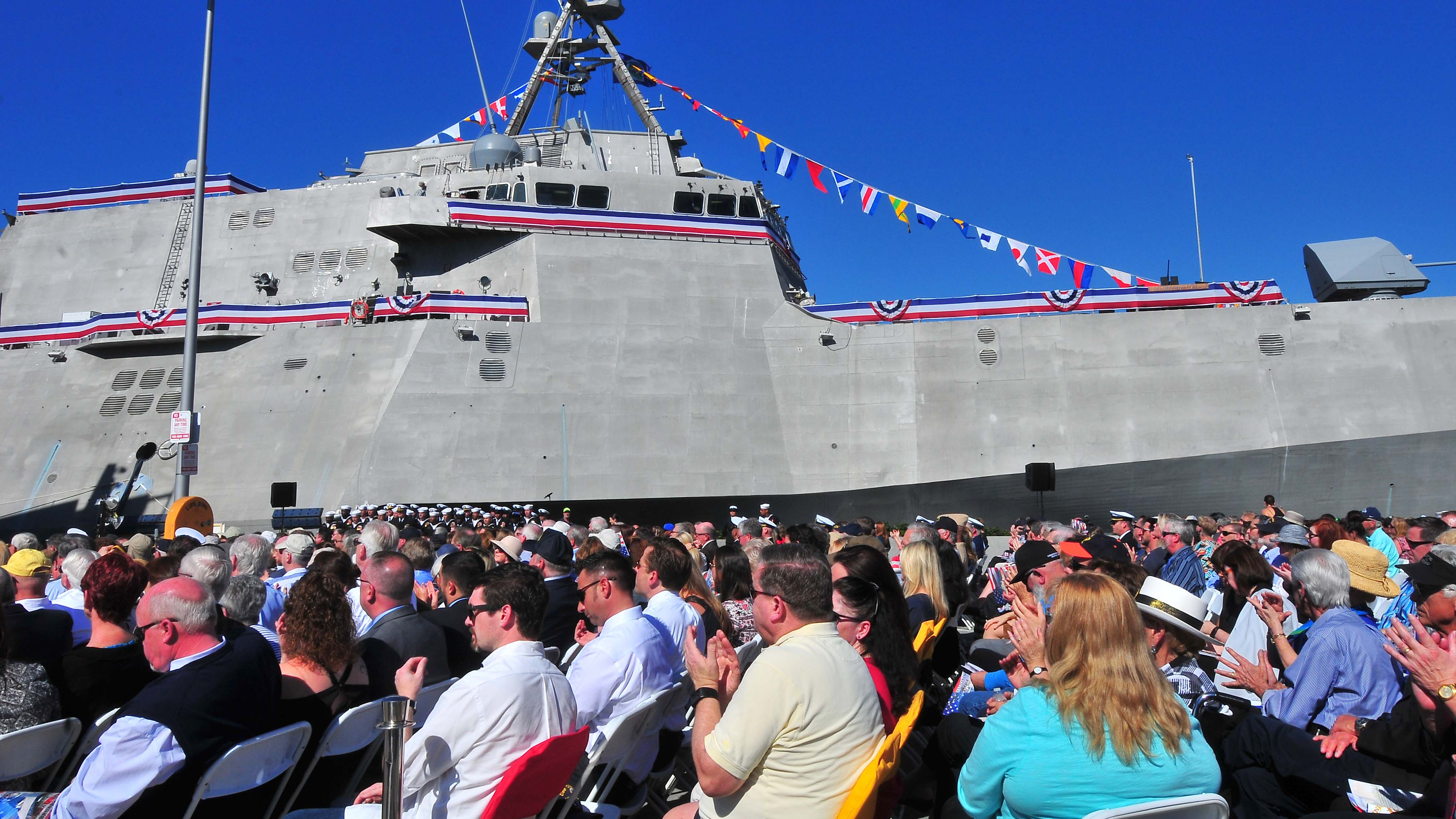 Hundreds of military members and their families attended the commissioning of the USS Omaha.