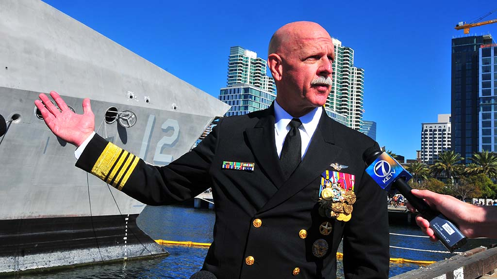 Adm. Scott Swift speaks about the role of the USS Omaha.