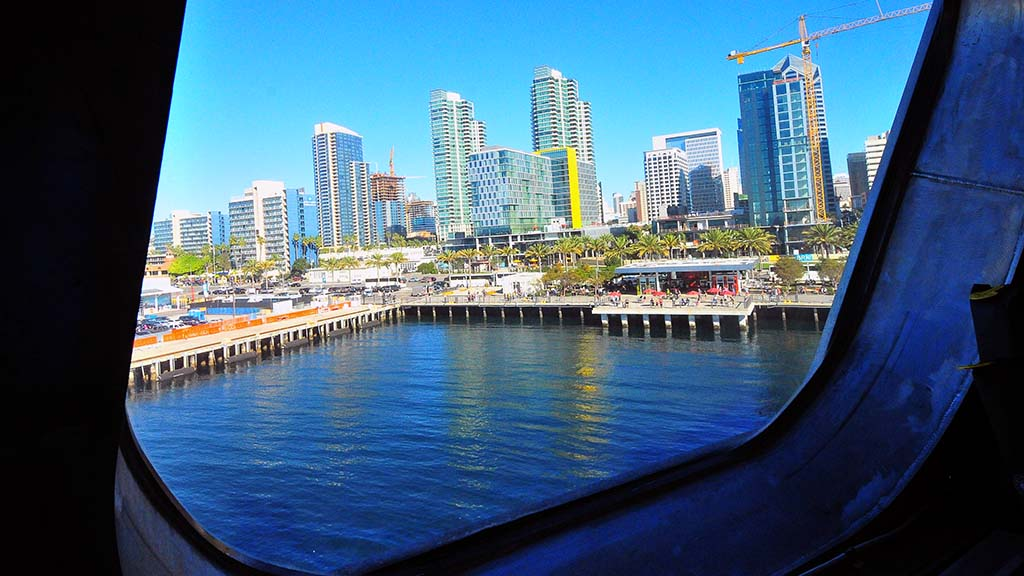 Downtown San Diego is seen from the bridge of the USS Omaha.