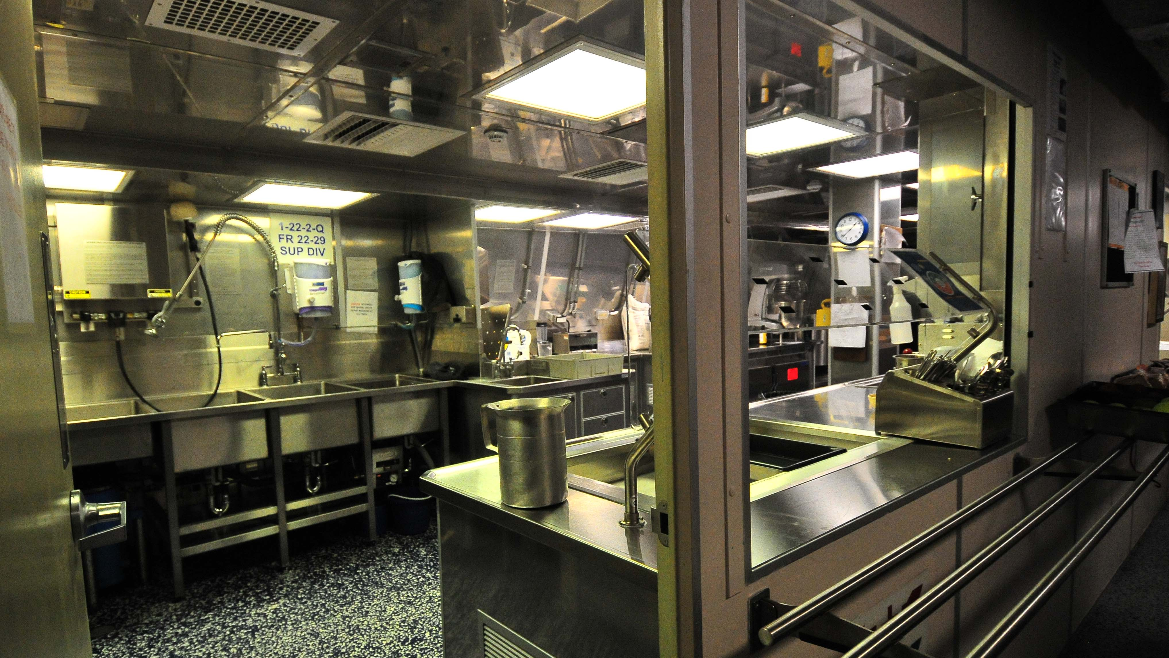 The kitchen of the USS Omaha is ready for hungry sailors.