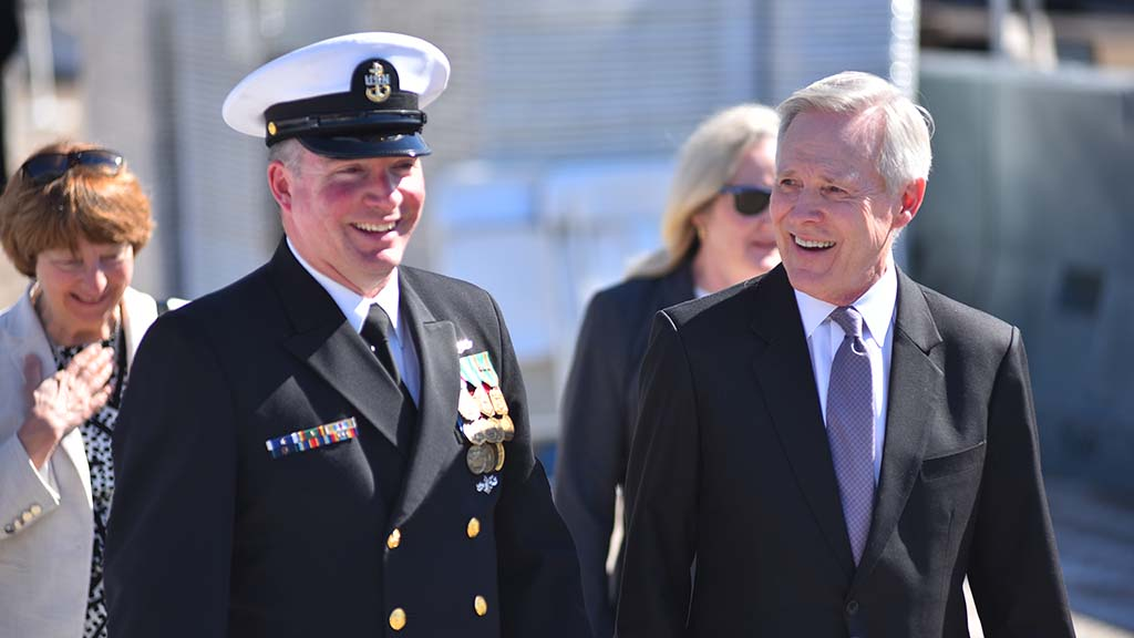 Former Navy Sec. Ray Mabus (right) was a guest at the USS Omaha commissioning.