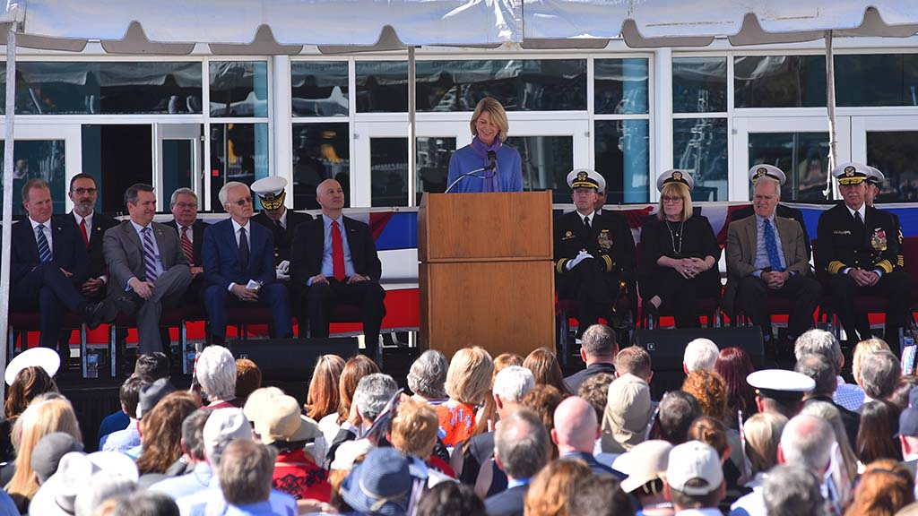 Omaha Mayor Jean Stothert speaks during the USS Omaha commissioning.