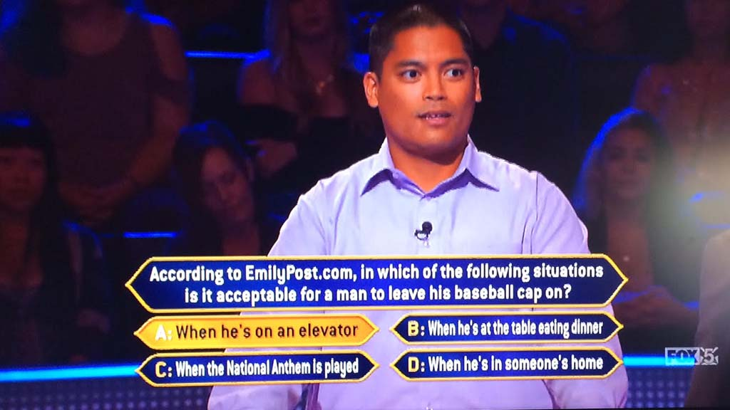 David Tamayo reasoned out the correct answer to the baseball cap question.