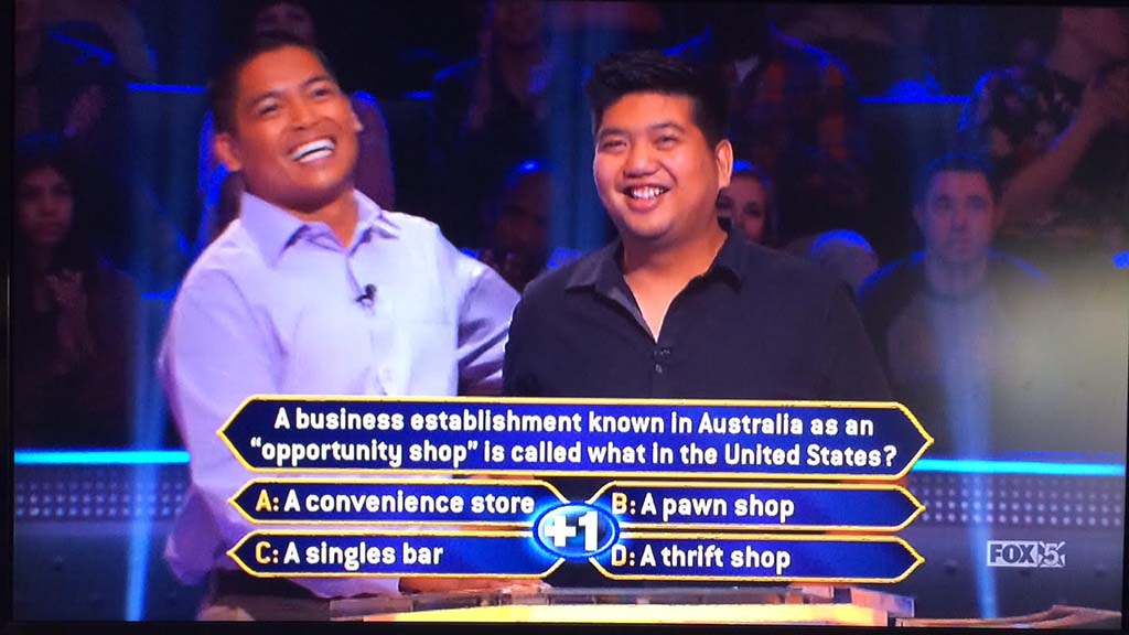 "Cousin Ryan Tamayo (right) couldn't help with answer and suggested David Tamayo ""walk away"" with $20,000."