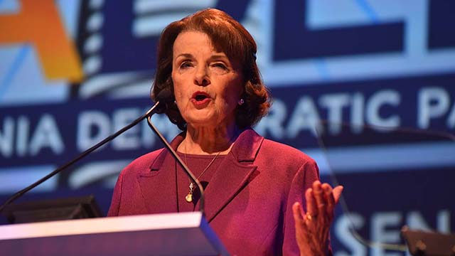 Sen. Dianne Feinstein speaks to the California Democratic Party convention in San Diego.