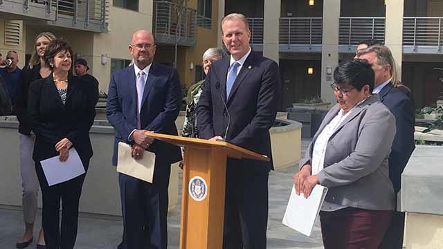 Mayor Kevin Faulconer announces call for code changes to provide more affordable housing.