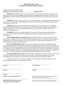 Gun-control resolution before San Diego Unified School District board. (PDF)