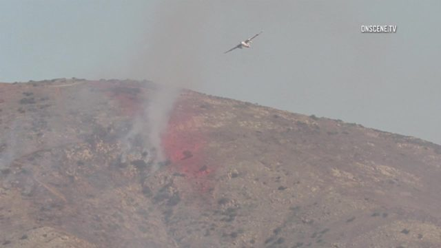 Air crews battle brush fire