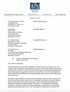 Alfred Rava letter to city and San Diego Fire-Rescue Foundation on Girls Empowerment Camp.