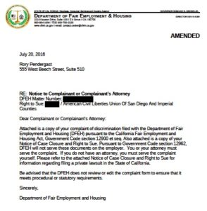 Right-to-sue letter from state Department of Fair Employment and Housing.
