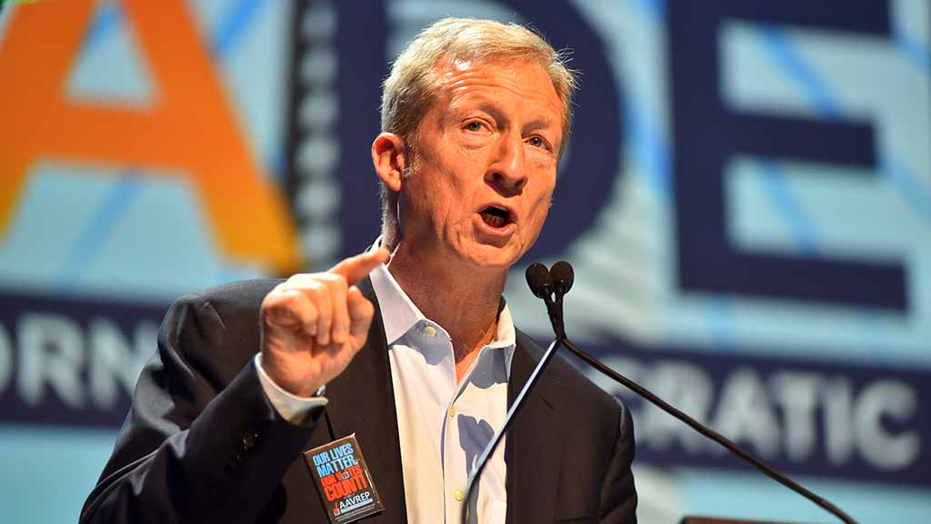 "Tom Steyer, an environmental activist, says: ""Trump is a clear and present danger to every single person on this room."""
