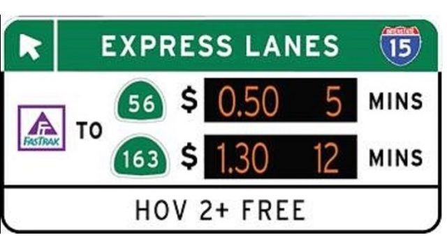 15 Freeway Express Lanes Signage