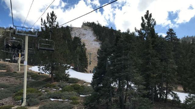 Ski slope with melting snow