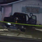 Burglary suspect's wrecked truck