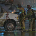 Oceanside firefighters and burning motor home