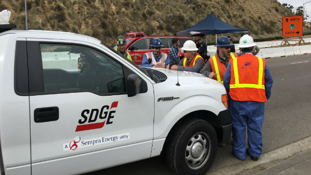 SDG&E crew at the location of the leak