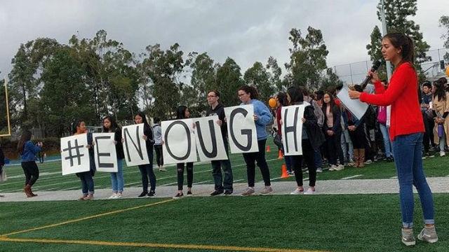 Students walk out at Mira Mesa High School