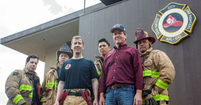 Paul Kerr with firefighters