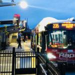 Bus leaves new transit station