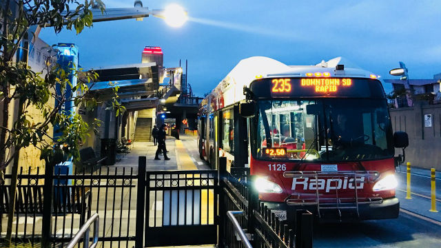 Bus leaves new transit station
