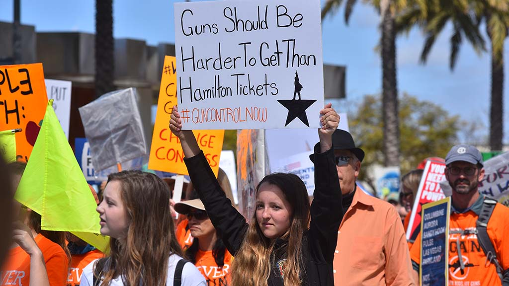 Tens of thousands of marchers gathered in downtown San Diego to protest anti-gun violence.