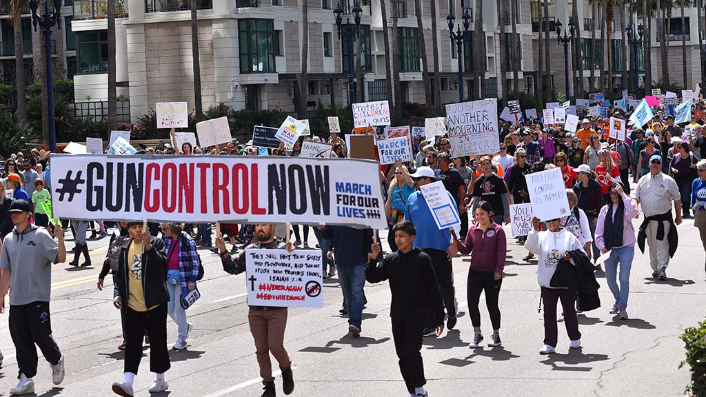 Tens of thousands of marchers participated in a protest against gun violence in downtown San Diego.