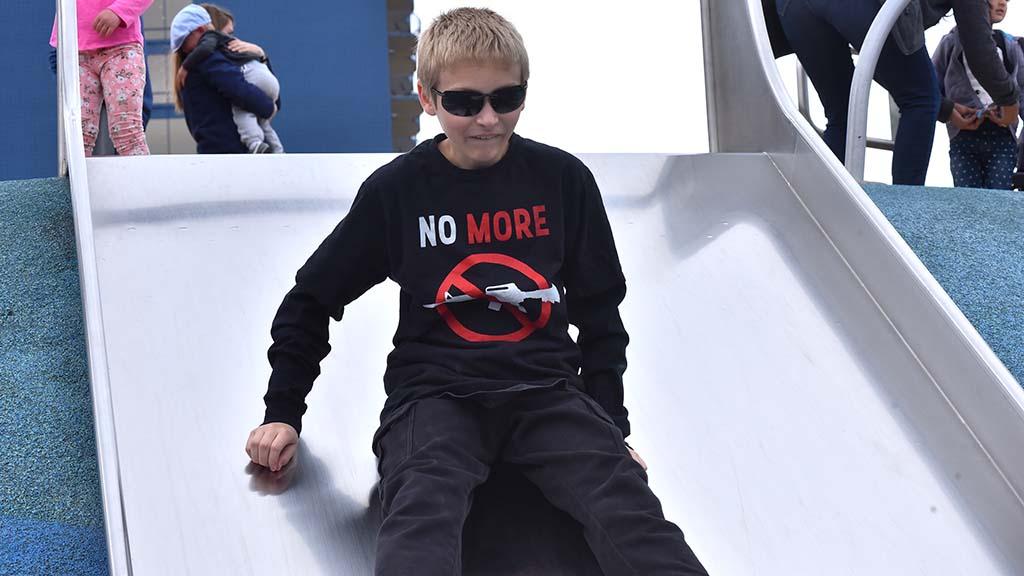 Leland Cuellar, 11, of Mira Mesa participated in the anti-gun violence march.